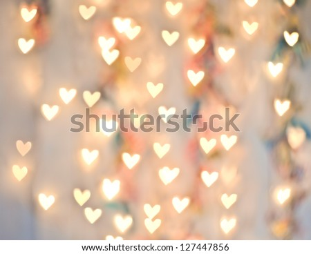 Pastel Heart Bokeh on a Pale Background