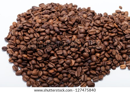 coffee beans close up isolated on white #127475840