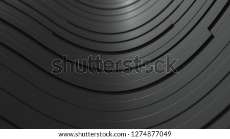 Abstract geometric background, waves from black planks.3D rendering illustration #1274877049