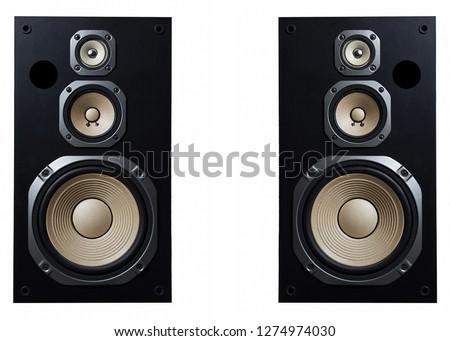 High quality loudspeakers.Hifi sound system in shop for sound recording studio.Professional hi-fi cabinet speaker box.Audio equipment for record studios.Buy dj equip in music store #1274974030