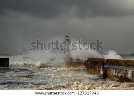Douro River Mouth on the first big storm of the year; Wind gusts reach 140 Km; photo taken on Jan. 19, 2013.