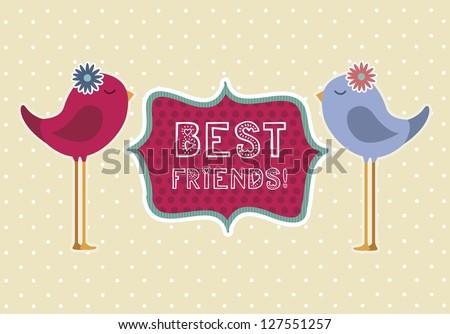 cute birds over beige background, best friends. vector illustration