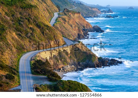 Pacific Coast Highway (Highway 1) at southern end of Big Sur, California Royalty-Free Stock Photo #127554866