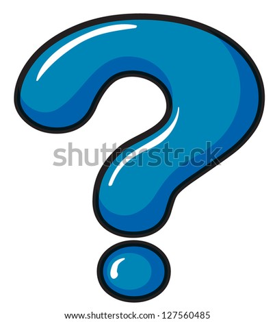 Illustration of a question mark symbol on a white background