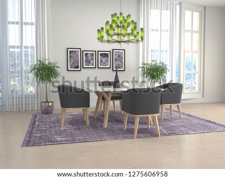 Interior dining area. 3d illustration #1275606958