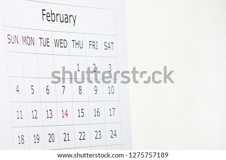 Calendar holiday February 14th Valentine's day is highlighted in red #1275757189