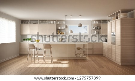 Modern white kitchen with wooden details and parquet floor, modern pendant lamps, minimalistic interior design concept idea, island with stools and accessories, 3d illustration #1275757399