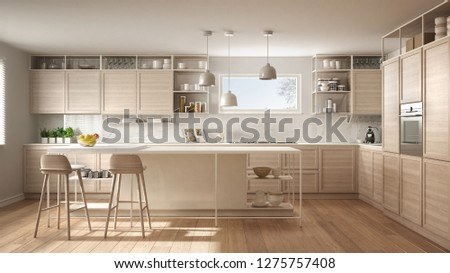 Modern white kitchen with wooden details and parquet floor, modern pendant lamps, minimalistic interior design concept idea, island with stools and accessories, 3d illustration #1275757408