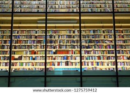 RIGA, LATVIA, NOVEMBER 7  2018, View of thousands of books in the National Library of Latvia in Riga #1275759412