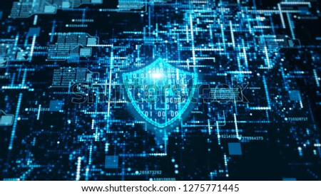Hi-Tech digital technology cyber security display holographic information abstract background #1275771445