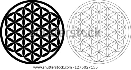 Flower Of Life Vector Black and Outline Royalty-Free Stock Photo #1275827155