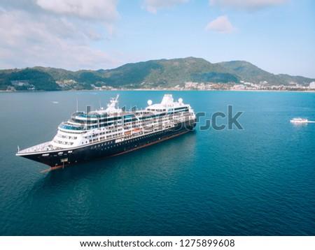 Large Cruise ship sailing across The Andaman sea - Aerial image. Beautiful  sea landscape #1275899608