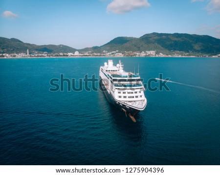 Large Cruise ship sailing across The Andaman sea - Aerial image. Beautiful  sea landscape #1275904396