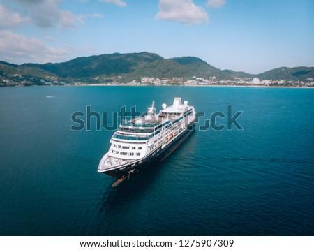 Large Cruise ship sailing across The Andaman sea - Aerial image. Beautiful  sea landscape #1275907309