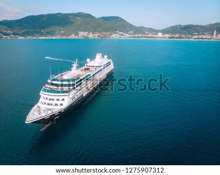 Large Cruise ship sailing across The Andaman sea - Aerial image. Beautiful  sea landscape #1275907312