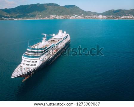 Large Cruise ship sailing across The Andaman sea - Aerial image. Beautiful  sea landscape #1275909067