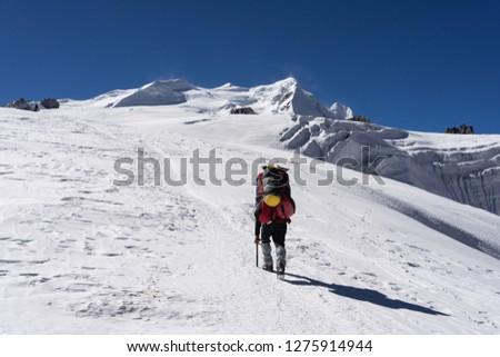 Porter walk to Mera peak high camp on Mera la glacier, Everest region, Nepal, Asia #1275914944