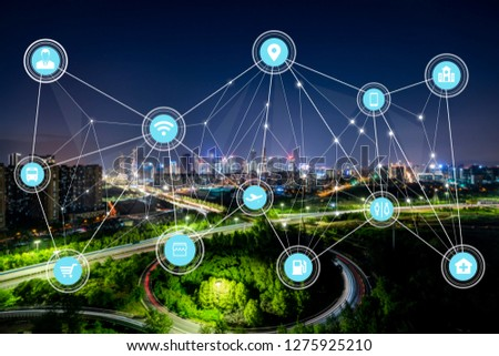 5G network wireless systems and internet of things with modern city skyline #1275925210