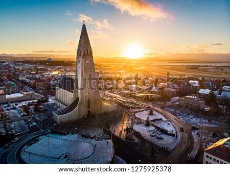 Hallgrimskirkja church and Reykjavik cityscape in Iceland aerial view #1275925378