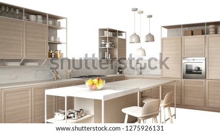 Modern white kitchen with wooden details, island with stools, interior design concept idea, isolated on white background with copy space, minimalist furniture, 3d illustration #1275926131