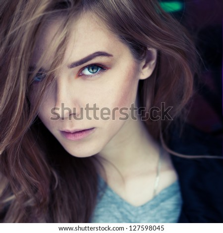 portrait of a beautiful young woman close up