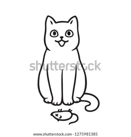 Cute cartoon cat with dead mouse drawing. Cats bringing prey animals to owner as gift.