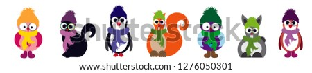 Vector illustration of set of animal dressed in a scarf and cap. #1276050301