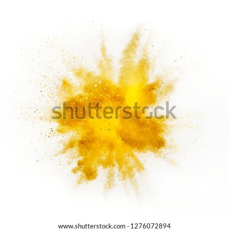 Explosion of colored powder isolated on white background. Abstract colored background Royalty-Free Stock Photo #1276072894