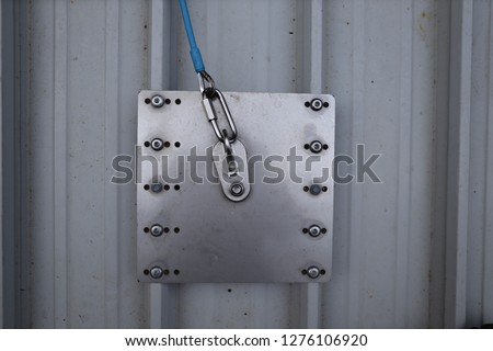Top view picture of roof fall arrester safety anchor point protection permanently fixed into first man up line ready to used construction building site, Sydney, Australia