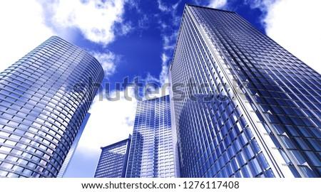 Skyscrapers in the sky, modern high-rise buildings view from below, 3d rendering #1276117408