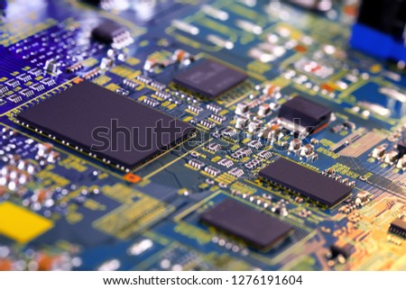 Electronic circuit board close up. #1276191604