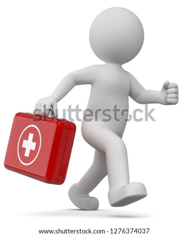 3D illustration of white male with blue emergency medical case