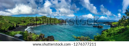 On the road to Hana Hawaii is a breathtaking black sand beach in a Hawaii state park called Waianapanapa the beach is actually black from the black lava rock surrounding this entire area. #1276377211