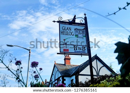 """""""Conwy, Wales- January 3,2018: A selective focus of Glan Heulog sign board in the morning. It is the best bed and breakfast in Wales from Tripadvisor website."""" #1276385161"""
