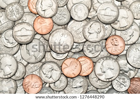 Pile of Golden coin, silver coin, copper coin, quarters, nickels, dimes, pennies, fifty cent piece and dollar coins. Various USA coins, American coins for business, money, financial coins and economy  #1276448290