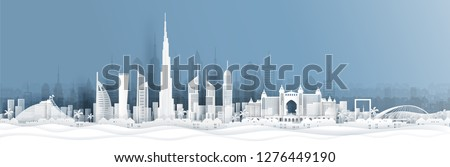 Panorama view of Dubai and city skyline with world famous landmarks in paper cut style vector illustration #1276449190
