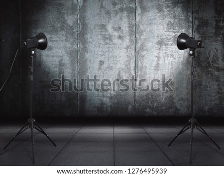 photo studio in old grunge room with metallic wall, urban background #1276495939