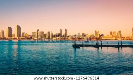 Golden City with an Ocean View #1276496314