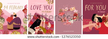cute posters, valentines day greetings, heart shape frame, vector illustration of a couple in love. Flyers, invitation, poster, brochure, banner. #1276523350