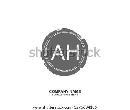 AH Initial letter geometric logo vector #1276634185