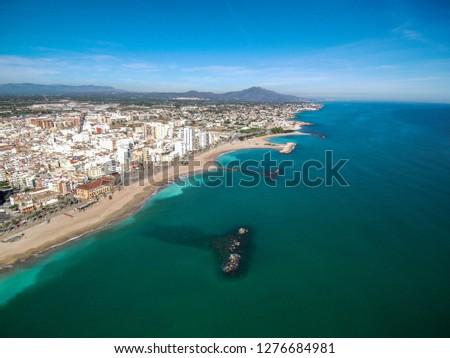 Aerial view of beach in Vinaros, Castellon,Spain. Drone Photo #1276684981