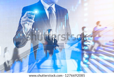 Business people climbing stairs with double exposure of businessman with clipboard working with forex graph. Toned image blurred #1276692085