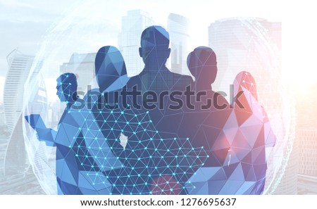 Silhouettes of managers standing together over modern cityscape and schematic planet hologram. International business concept. Toned image double exposure #1276695637