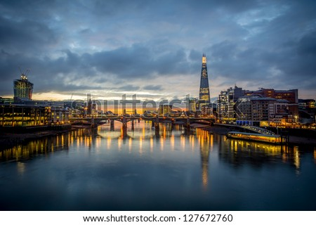 A view from the london skyline from the milleneum bridge