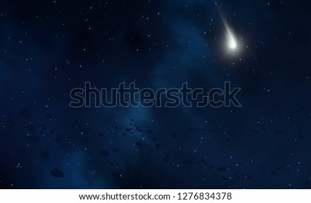 2d illustration. Realistic star pattern background. Empty interstellar space. Bright stars flash, planets, moons. Various science fiction creative backdrops. Space art. Imaginary cosmic backdrop. #1276834378