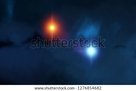 2d illustration. Deep vast space. Bright stars, planets, moons. Various science fiction creative backdrops. Space art. Alien solar systems. Distant space. Realistic background deep cosmos. #1276854682