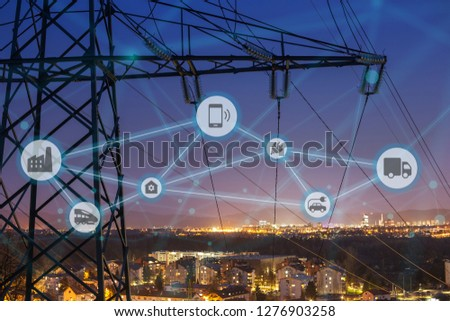 High power electricity poles connected to smart grid. Energy supply, distribution of energy, transmitting energy, energy transmission, high voltage supply concept photo, smart grid, smart home #1276903258
