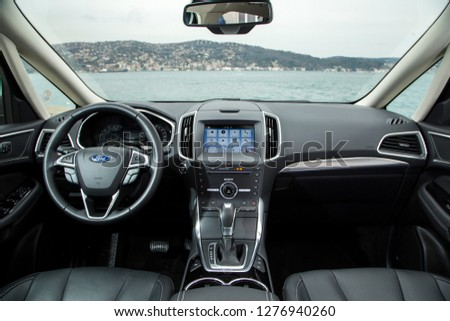 Istanbul/Turkey - January 24 2017 :  Ford S-Max is an MPV produced by Ford Europe for the European market. Ford also describes the S-Max as an SAV. #1276940260