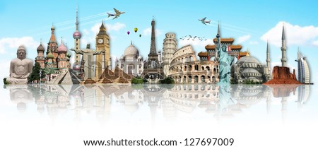Travel the world monuments concept #127697009