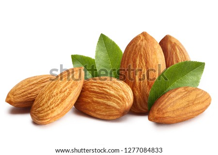 Close-up of almonds with leaves, isolated on white background #1277084833